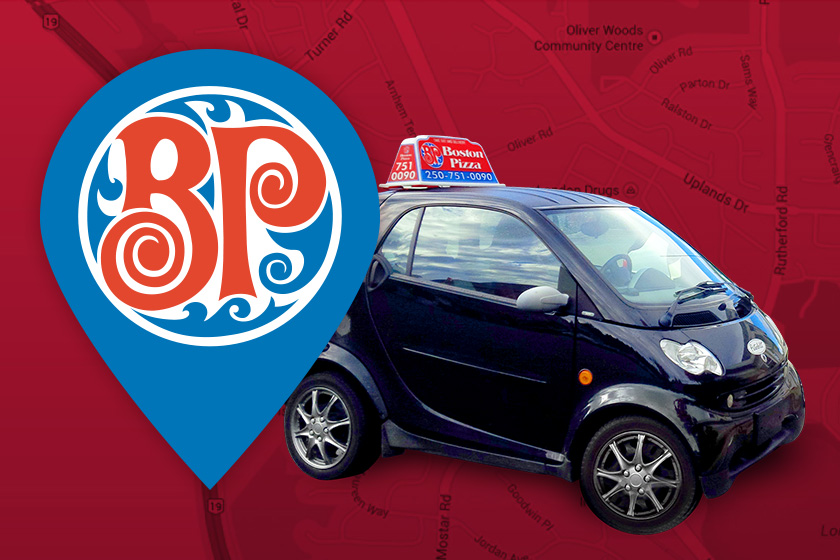 Black car on red background with GPS icon with Boston Pizza logo inside it