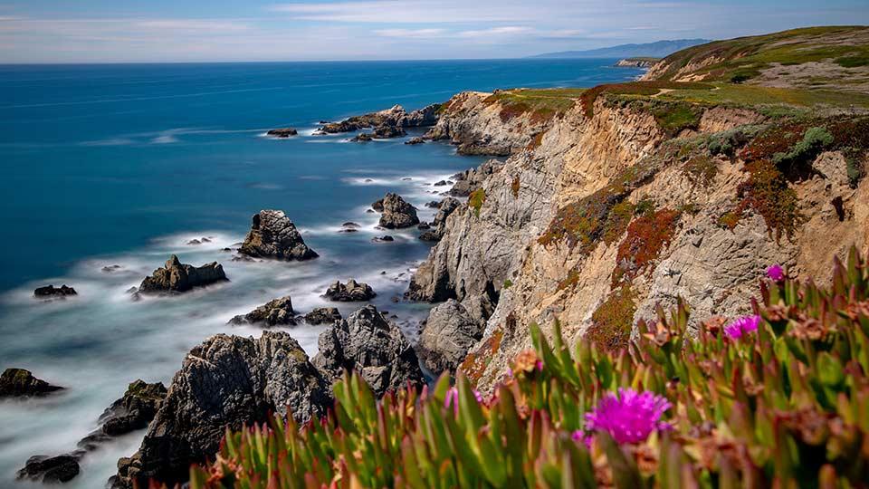 Cliffs and ocean in California