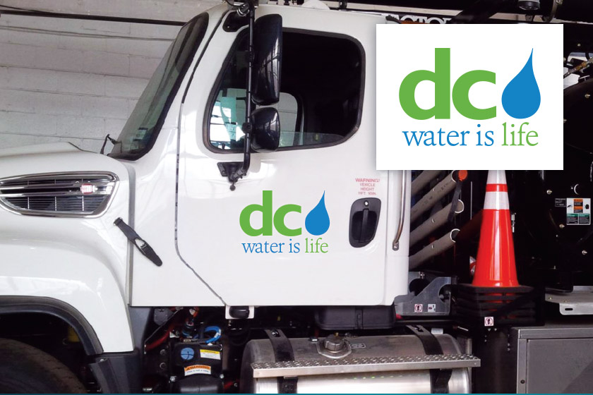 White DC Water truck with DC Water logo on the door