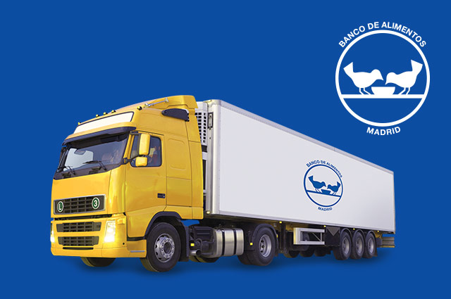 Yellow and white transport truck with blue background and logo in right hand corner.