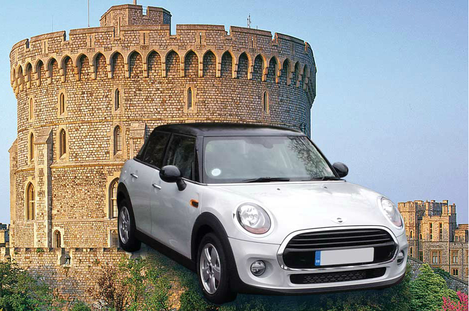 A BMW Mini Cooper superimposed in front of a castle