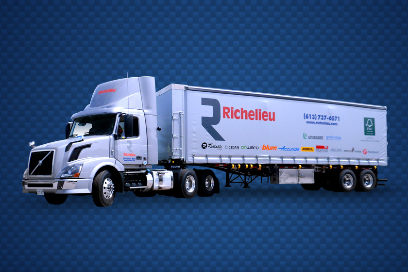 Richelieu semi truck on a dark blue background