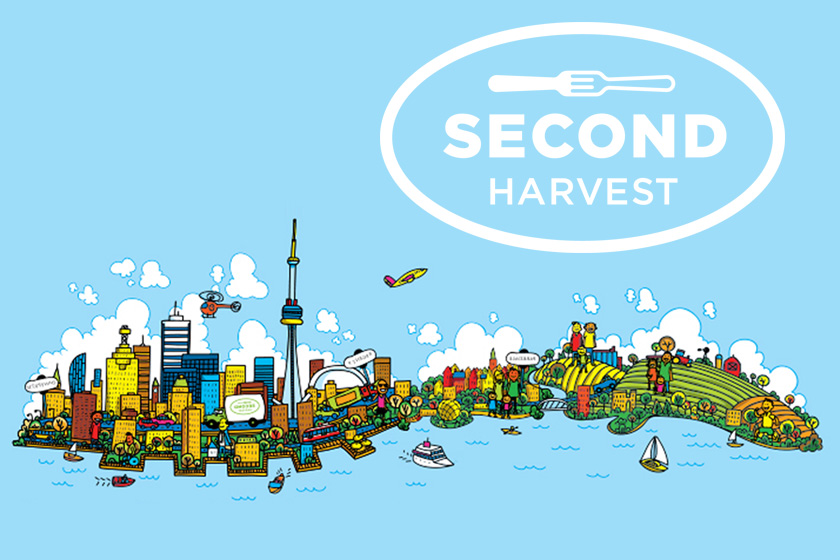 Illustration of Toronto skyline on a blue background with a white Second Harvest logo above it