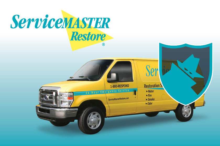 Yellow ServiceMaster van on a white and blue background with the ServiceMaster logo above it