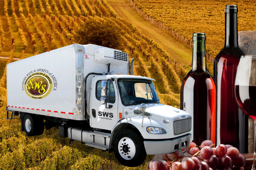 Southern Wine and Spirits truck in a field with bottles of wine superimposed beside it