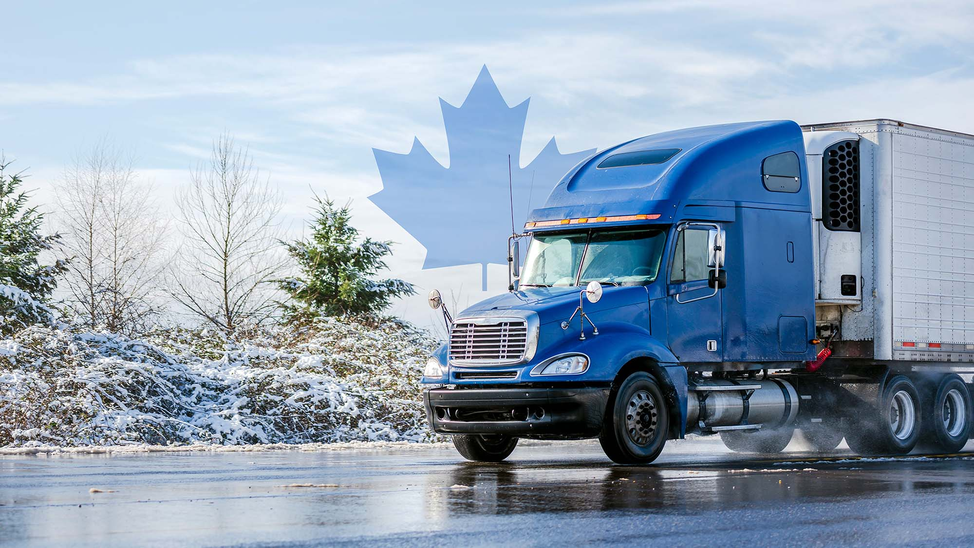 Truck with maple leaf in background