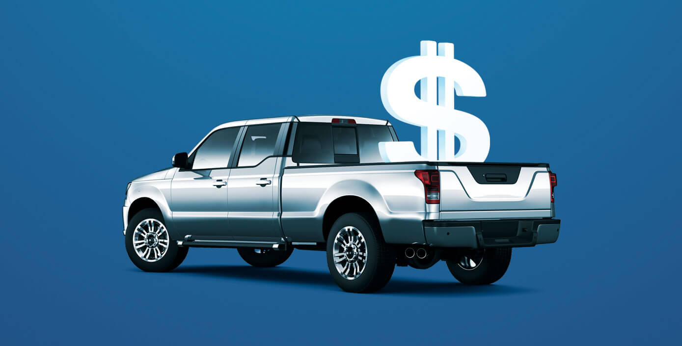 Silver truck with a dollar sign in the cargo bed and a blue background.