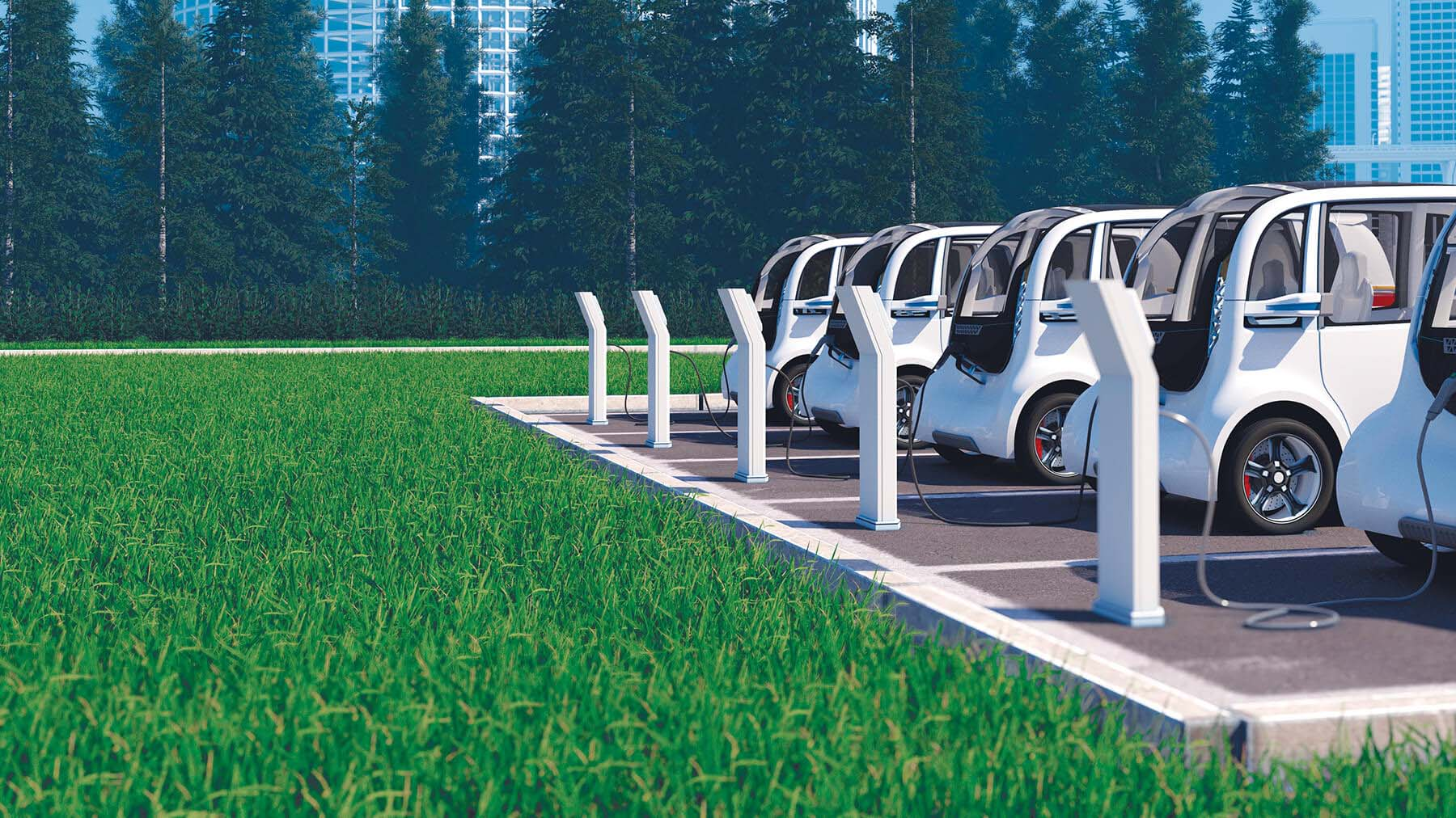 Electric vehicles parked next to their charging stations