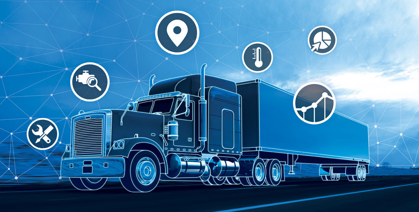 Blue transport truck with icons surrounding it.