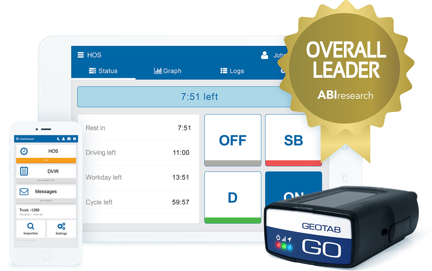 Geotab Drive app on mobile devices, a GO device and the ABI logo