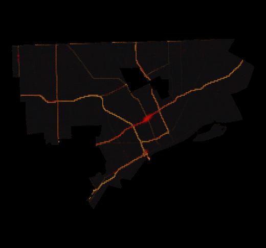 Detroit temperature map