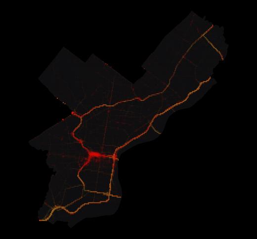Philadelphia temperature map