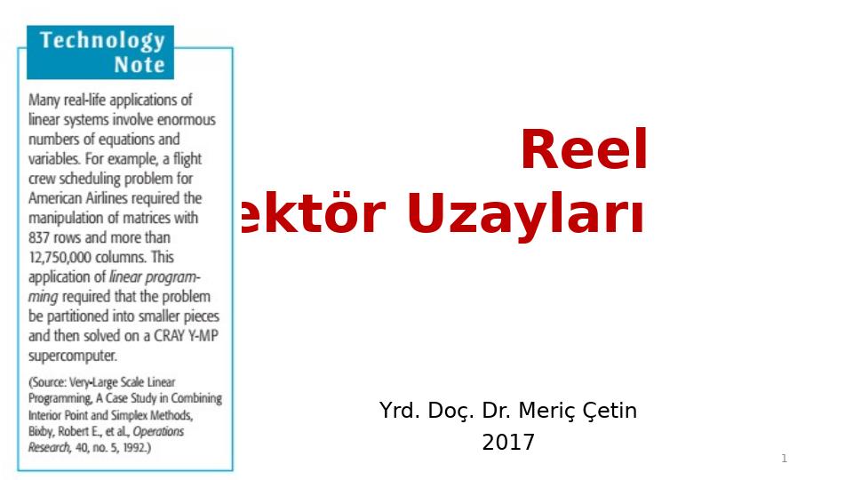 MAT237 LİNEER CEBİR - HAFTA 6