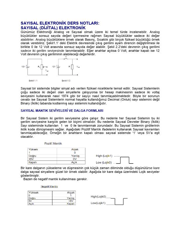 Sayısal Sistemler Ders Notu