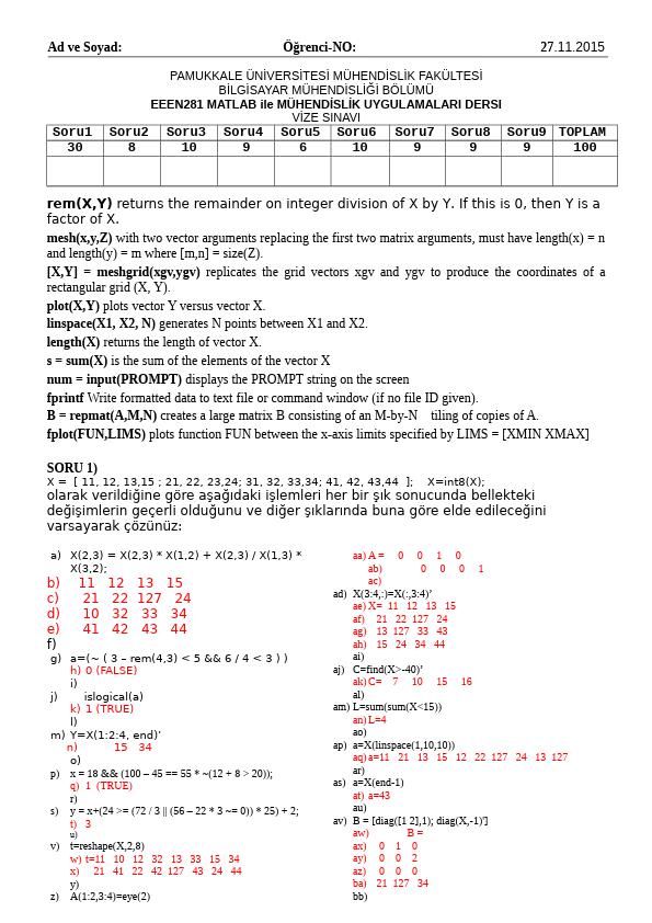 Matlab 2015 Vize Soruları Çözümleri