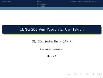 Pamukkale Üniversitesi Veri Yapıları 1. Hafta Dökümanı