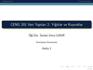 Pamukkale Üniversitesi Veri Yapıları 2. Hafta Dökümanı