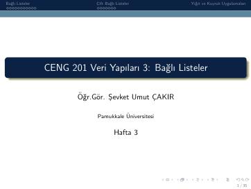 Pamukkale Üniversitesi Veri Yapıları 3. Hafta Dökümanı
