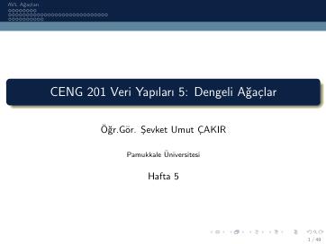 Pamukkale Üniversitesi Veri Yapıları 5. Hafta Dökümanı