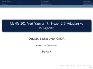 Pamukkale Üniversitesi Veri Yapıları 7. Hafta Dökümanı