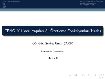 Pamukkale Üniversitesi Veri Yapıları 8. Hafta Dökümanı