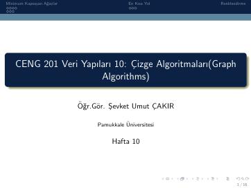 Pamukkale Üniversitesi Veri Yapıları 10. Hafta Dökümanı
