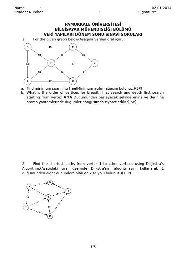 Veri Yapıları - 2013 Final Soruları