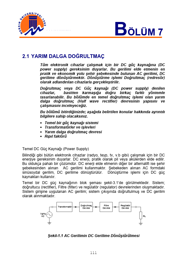 Temel Elektronik - 7 Mersin Üniversitesi 15 Sayfa