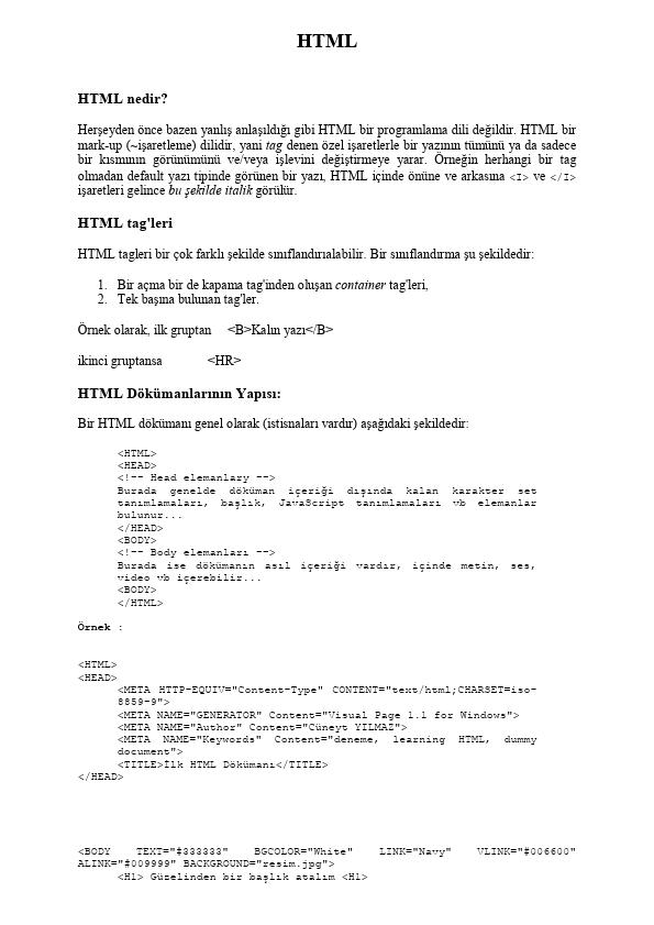 Bilgisayar Mühendisliği HTML betik dili ders notları çalışma dökümanları - Erciyes Üniversitesi