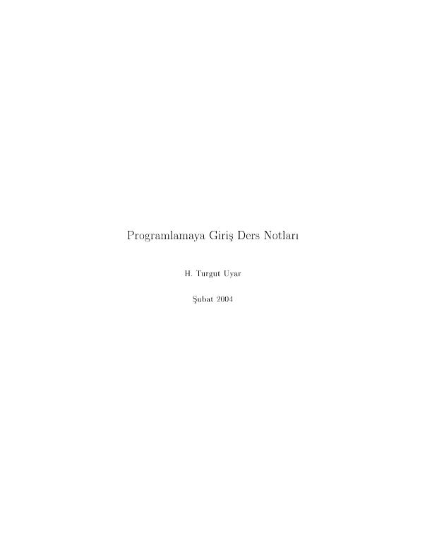 Programlamaya Giriş Ders Notları - İTÜ