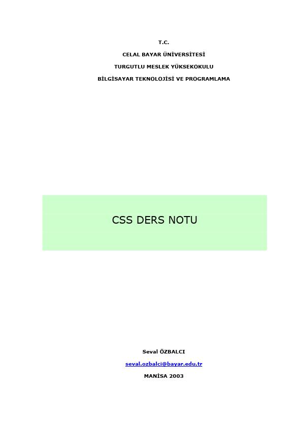 CSS Betik Dili Ders Notları
