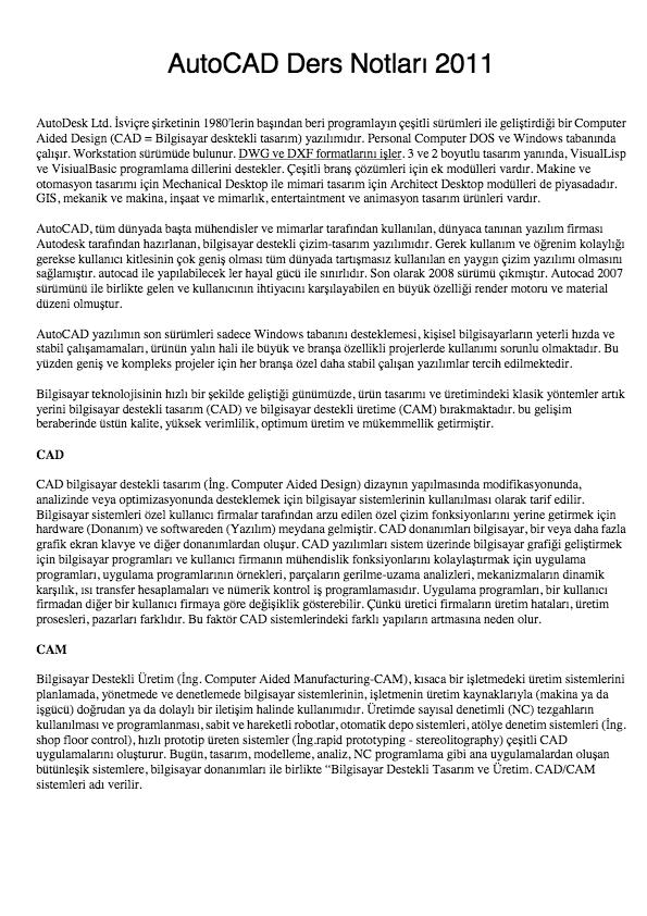 AutoCAD Ders Notları