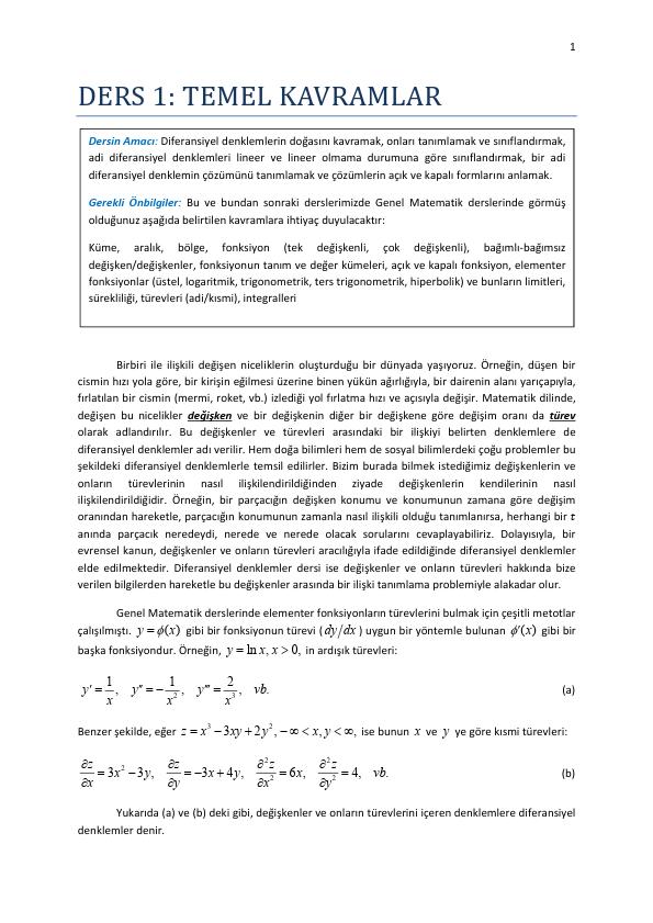 Diferansiyel Denklemler Ders Notları - PAU