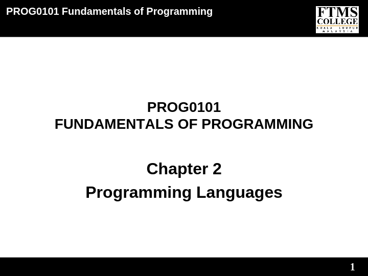 PROG0101 FUNDAMENTALS OF PROGRAMMING