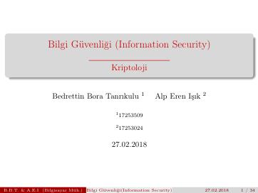 Bilgi Güvenliği (Kriptoloji)
