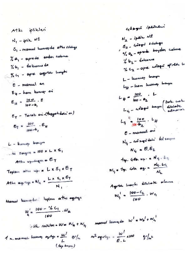 tekstil mühendisliği 2. sınıf dersi