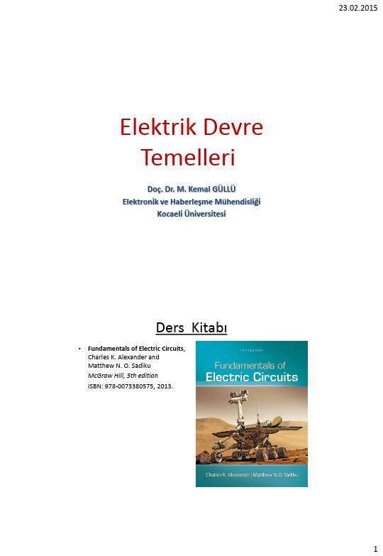 Elektrik Devre Temelleri - Kocaeli Üniversitesi - EMG - Hafta 1