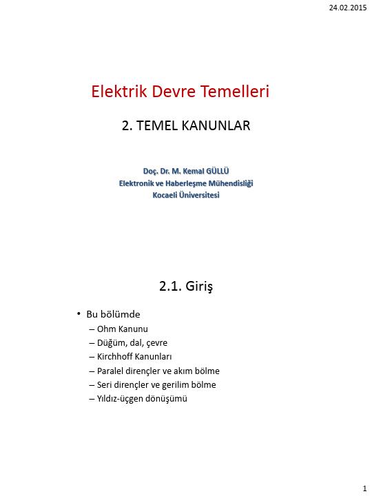 Elektrik Devre Temelleri - Kocaeli Üniversitesi - EMG - Hafta 2