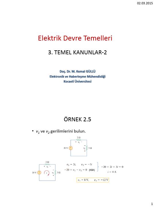 Elektrik Devre Temelleri - Kocaeli Üniversitesi - EMG - Hafta 3 - Temel kanunlar