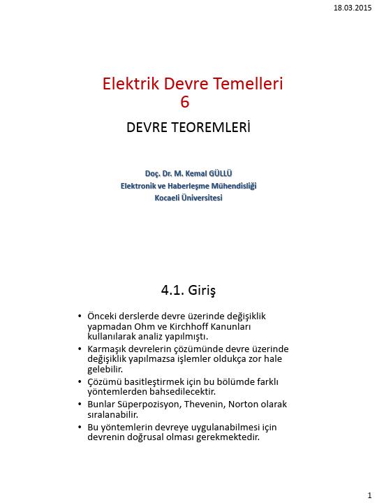 Elektrik Devre Temelleri - Kocaeli Üniversitesi - EMG - Hafta 6 - Devre Teoremleri