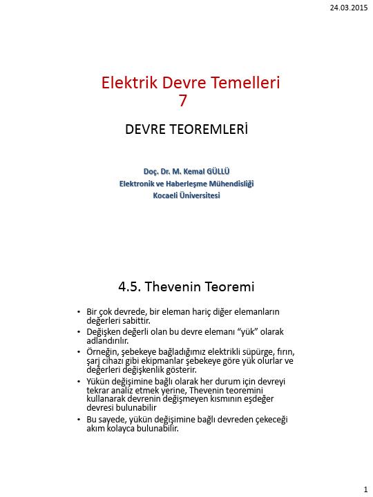 Elektrik Devre Temelleri - Kocaeli Üniversitesi - EMG - Hafta 7 - Devre teoremleri