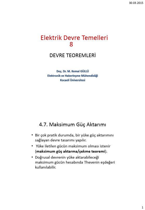 Elektrik Devre Temelleri - Kocaeli Üniversitesi - EMG - Hafta 8 - Devre teoremleri