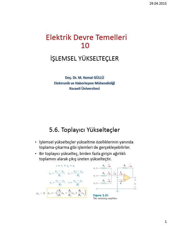 Elektrik Devre Temelleri - Kocaeli Üniversitesi - EMG - Hafta 10 - İşlemsel yükselteçler