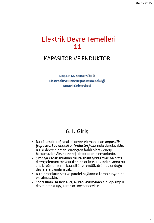 Elektrik Devre Temelleri - Kocaeli Üniversitesi - EMG - Hafta 11 - Kapasitör ve endüktör