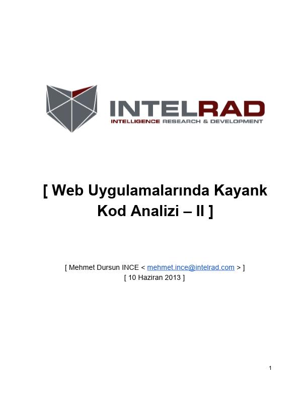 Web Uygulamalarında Kaynak Kod Analizi – II - Mehmet Dursun INCE - 10 Haziran 2013