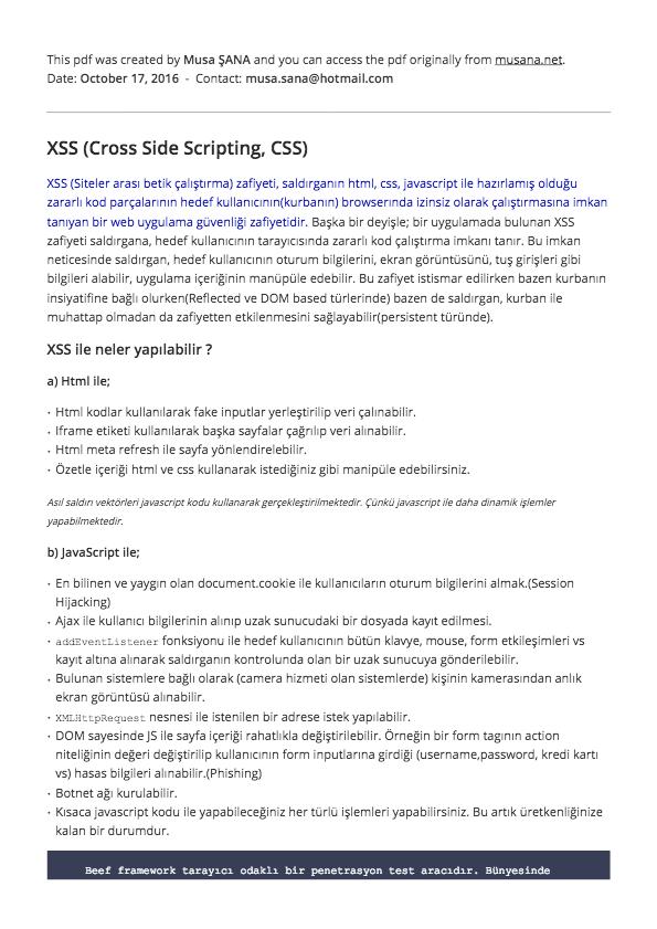 XSS Detaylı Anlatım Ders Notları