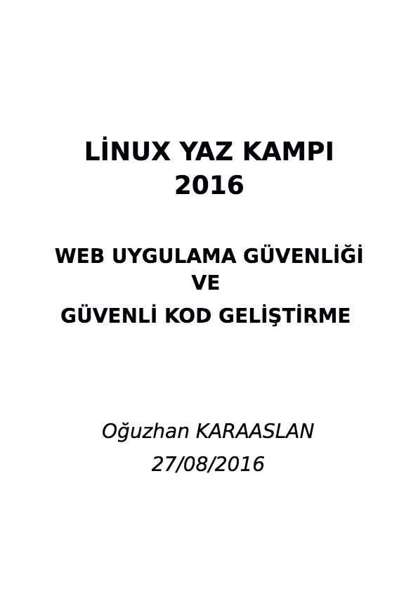 WEB UYGULAMA GÜVENLİĞİ VE GÜVENLİ KOD GELİŞTİRME - Linux Yaz Kampı