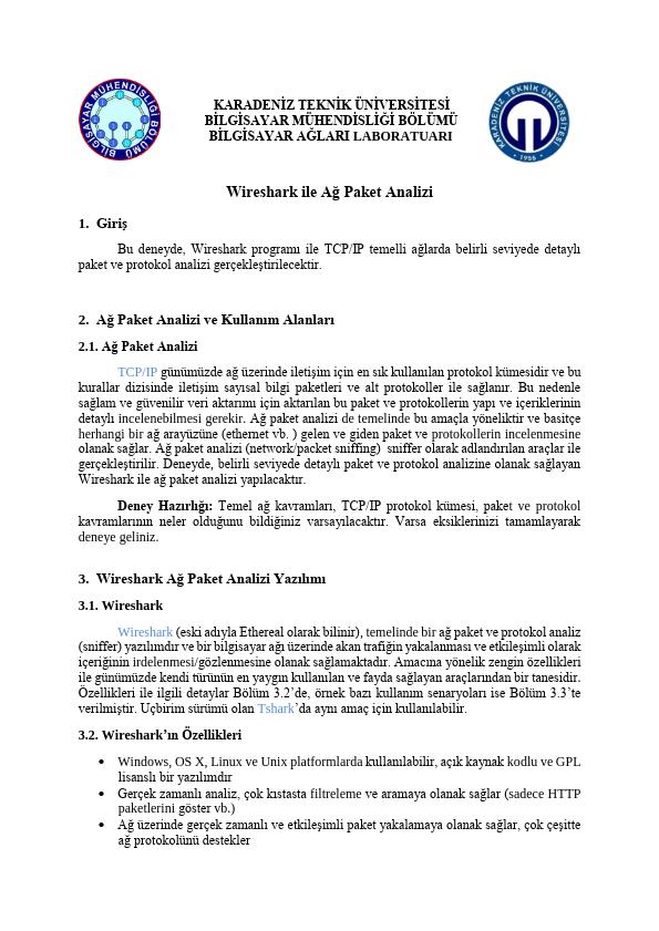 Wireshark Kullanarak Ağ Paket Analizi Çalışma Notları