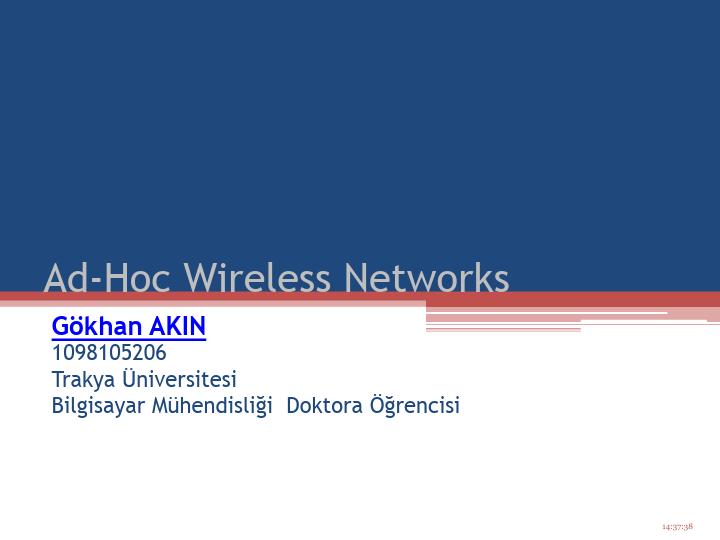 Ad-Hoc Wireless Networks