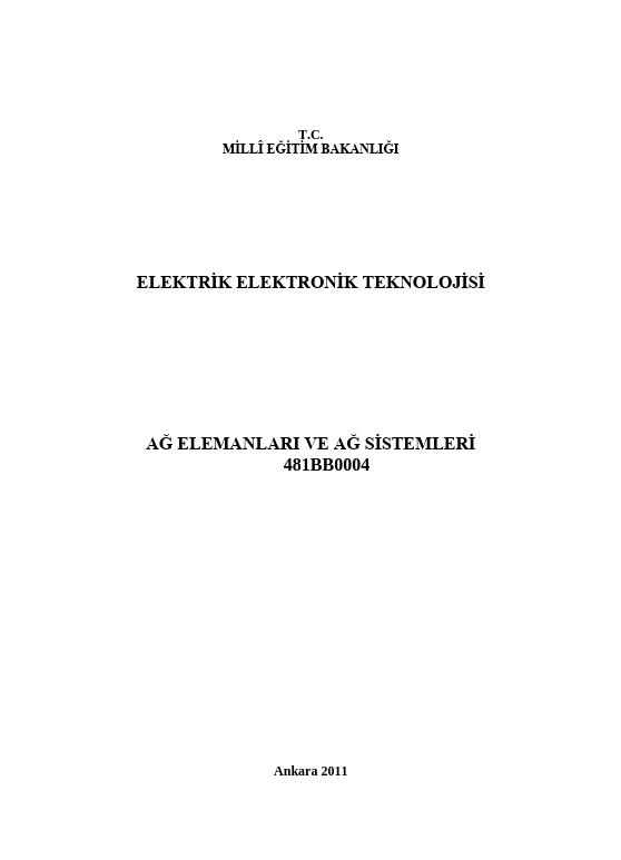 Elektrik Elektronik Teknolojisi Ağ Elemanları Ve Ağ Sistemleri